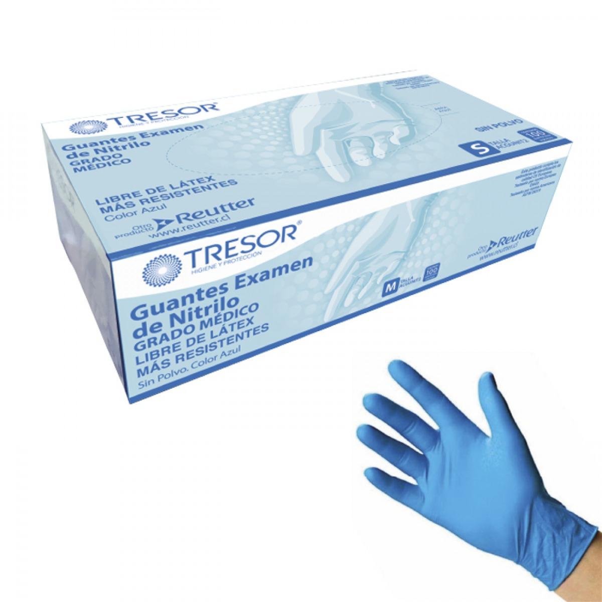 Guante examen nitrilo azul sin polvo